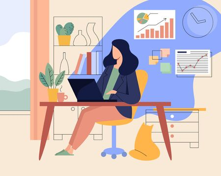 Flat vector concept illustration. A freelancer working at home with cat. Home office with laptop, graphs and charts