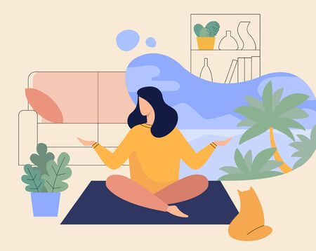 Woman Meditating at Home, Yoga of Lady in Room flat illustration 스톡 콘텐츠 - 145173451