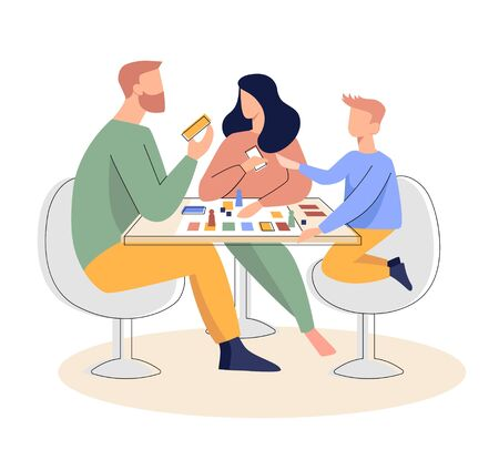 Family playing a board game vector illustration. Flat illustration. The concept of quarantine and stay at home
