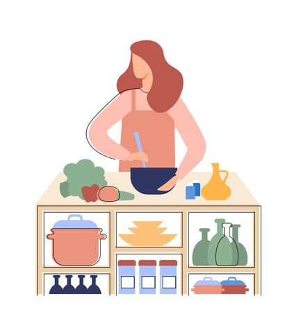 The girl prepares healthy food in the kitchen. A woman cooking a salad. Flat vector illustration