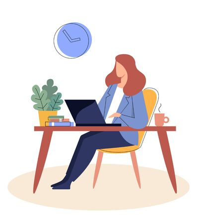Businesswoman is sitting at a table with a laptopr. Flat vector illustration