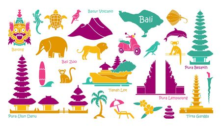 Bali, Indonesia icons set. Attractions, flat design. Tourism in Bali, isolated vector illustration. Traditional symbols
