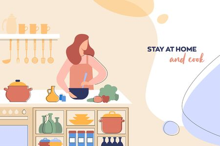 Layout of a leaflet with the concept of home cooking The woman prepares healthy food in the kitchen. Ilustração