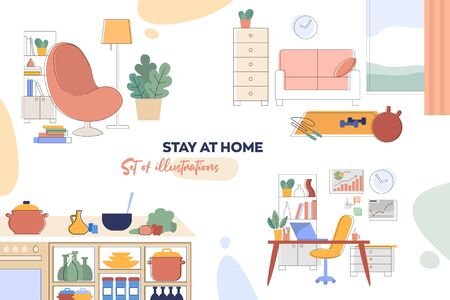 A set of illustrations of interior details and household items. Home furniture and accessories