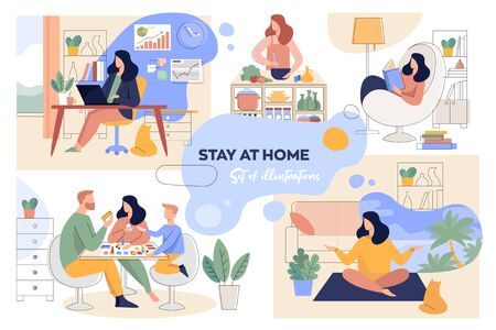 A set of illustrations for the stay-at-home concept. Home office, leisure, reading and family time Ilustração