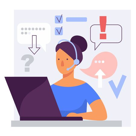 Call center online customer support woman operator. Stylized vector flat illustration Ilustração