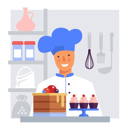 Pastry chef with cake and cakes. Flat vector stylized image. Avatar illustration Ilustração