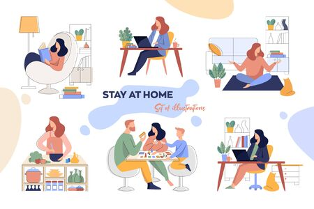 A set of illustrations for the stay-at-home concept.