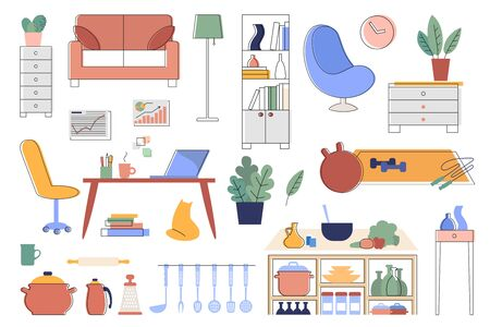 A set of illustrations of interior details and household items. Home furniture and accessories. Illustrations with editable stroke