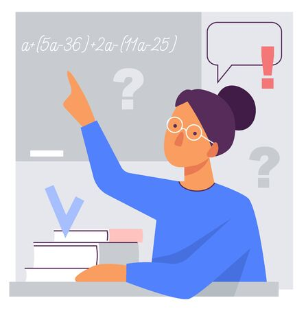 Flat stylized illustration of a teacher at the blackboard. A woman with books explains mathematics