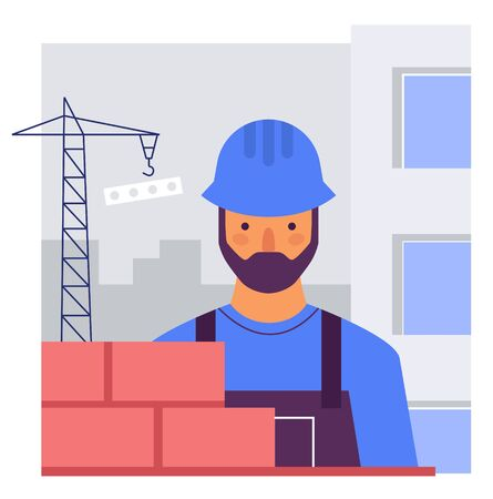 The Builder builds a brick wall. Flat stylized vector illustration