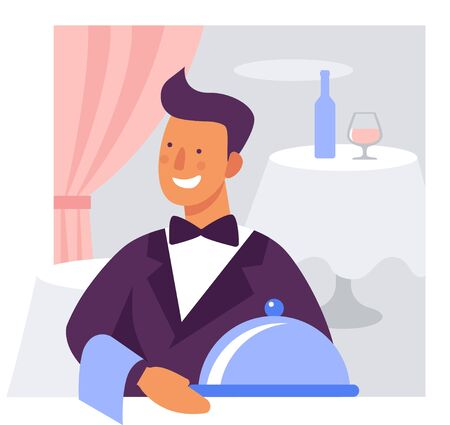 Waiter with a dish in a restaurant or cafe. Flat vector illustration