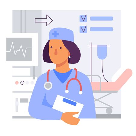 Female doctor in the clinic. Flat stylized vector illustration