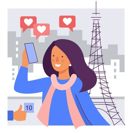 A girl takes a selfie against the background of the Eiffel tower. Stylized illustration of a travel blogger