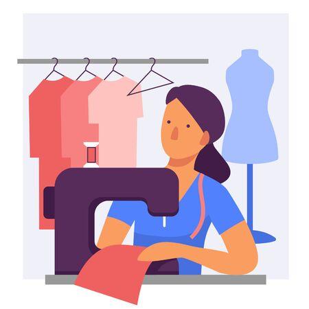 A woman dressmaker at a sewing machine. Flat stylized illustration