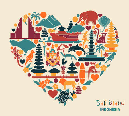 Traditional symbols of architecture, culture and nature of Bali Islands, Indonesia heart shaped Ilustração