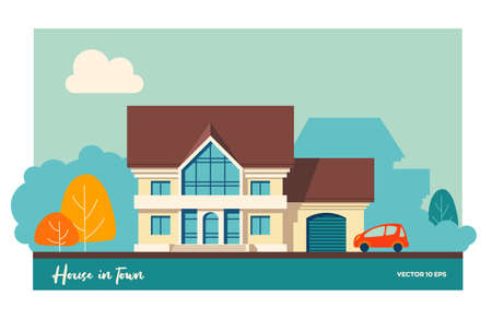 House with garage and car. Vector illustration