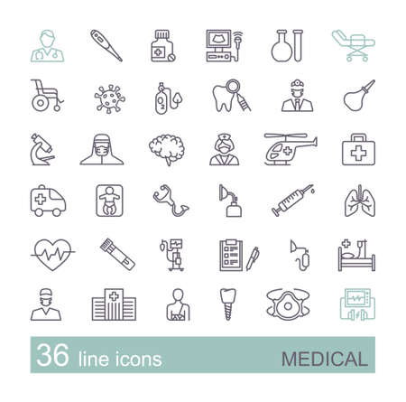 Set of medical icons. Linear vector symbols on the theme of diagnostics, treatment, and hospitals