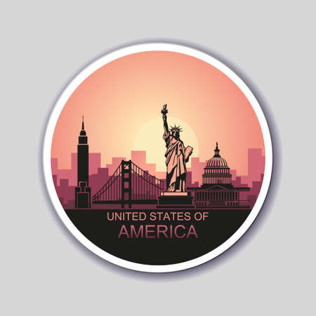 Round sticker with abstract landscape of the city with sights of the USA