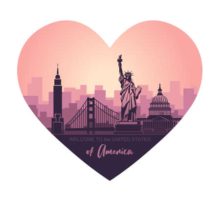 Heart-shaped liiustration with abstract landscape of the city with sights of the USA