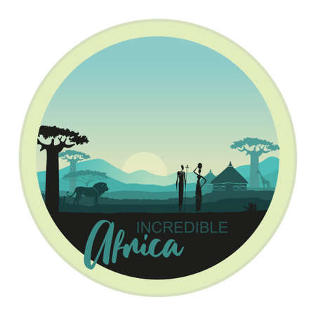 African men and women against the African sunset