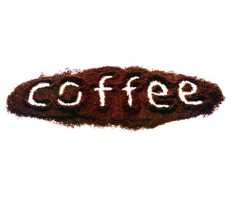 slurp: Nice sign coffee made of coffee on white isolated background Stock Photo