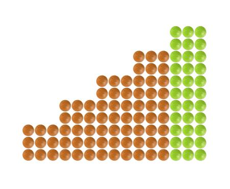 columnar: Plenty of green and orange pills shaped in columnar diagram form on white background