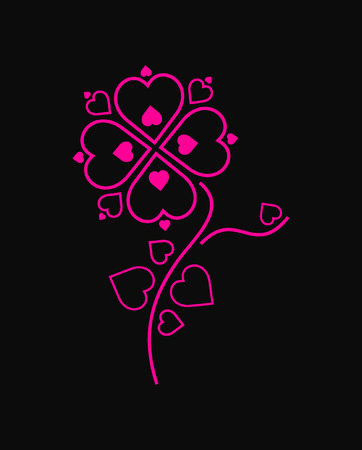 pink flower made of hearts on black background Stock Vector - 4152525
