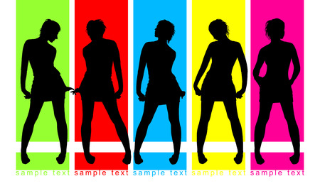 parade: Fashion parade on color background, five female silhouettes Illustration