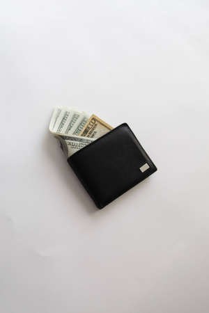 accrual: wallet with sticking out banknotes  Stock Photo