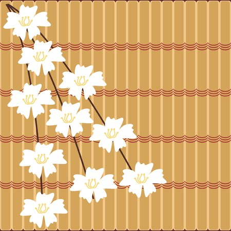japanese style background with cherry flowers Vector