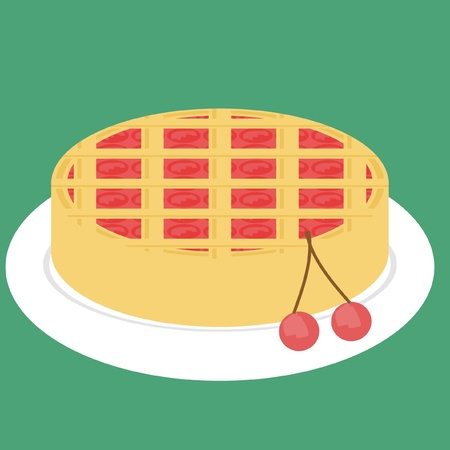 tarte aux cerises: cherry pie on green background