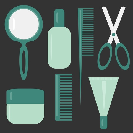 woman in mirror: set with hair care objects