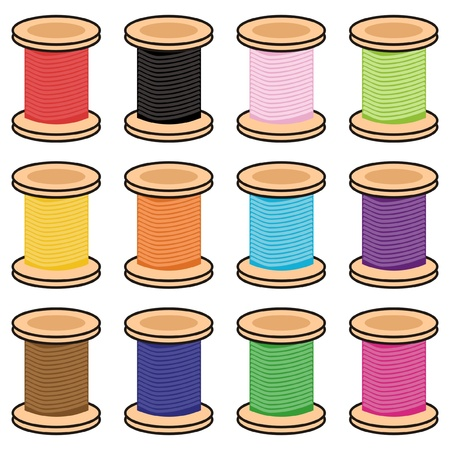 color reels of thread Illustration