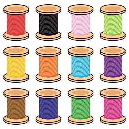 fancywork: color reels of thread Illustration