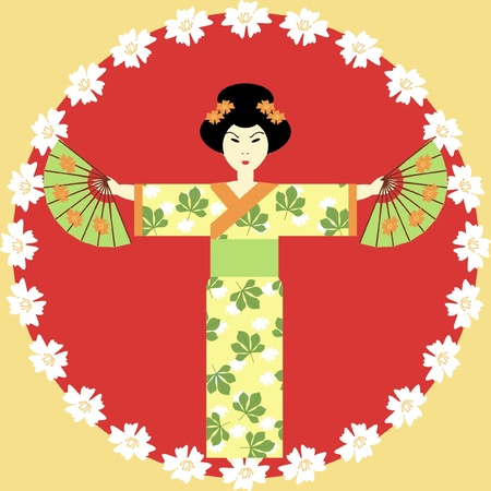 japanese girl with fans Stock Vector - 10301555