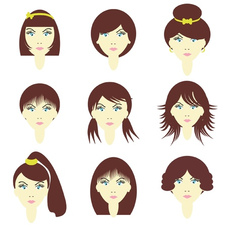 girls with different hairstyles Illustration