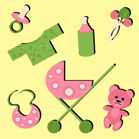teat: set with objects for baby