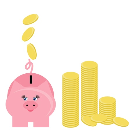 piggy bank and coins Stock Vector - 11233129