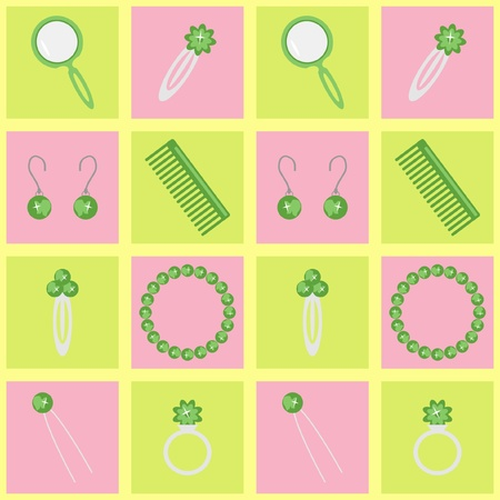 hairpin: background with ladys objects