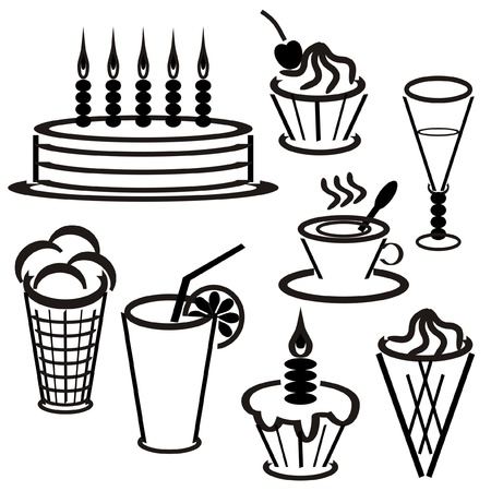 set with desserts and drinks Vector