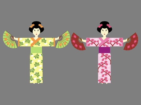 green dress: two japanese girls with fans Illustration