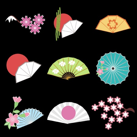 set with japanese style objects Stock Vector - 11233069