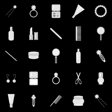 set with lady objects on black