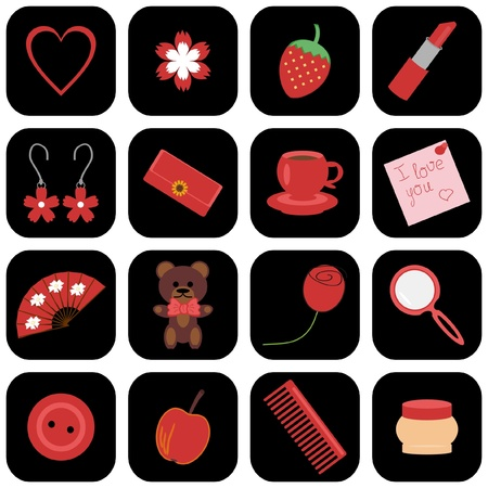 set of icons with lady objects Vector