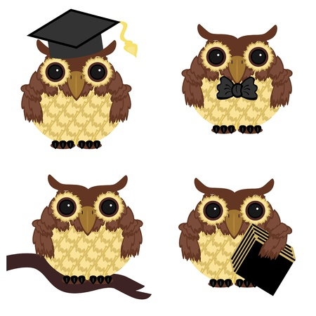 four owls on white background Vector
