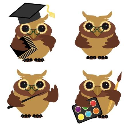 four owls on white background