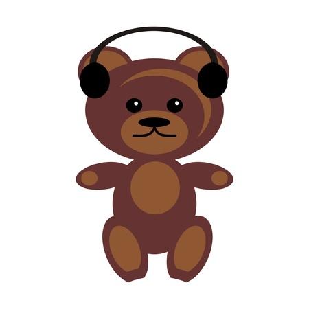 earphones: teddy bear with earphones