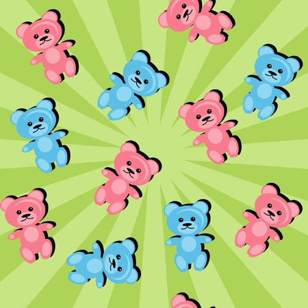 background with teddy bears Vector