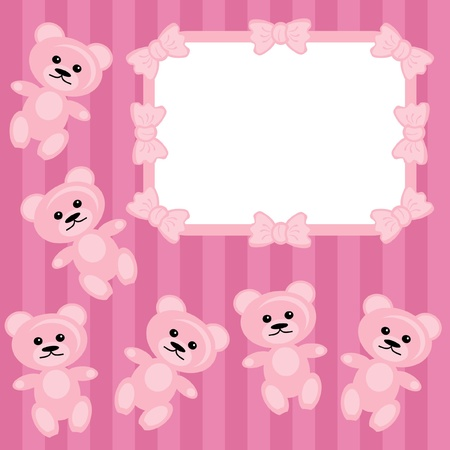 children frame with teddy bear Stock Vector - 11835056
